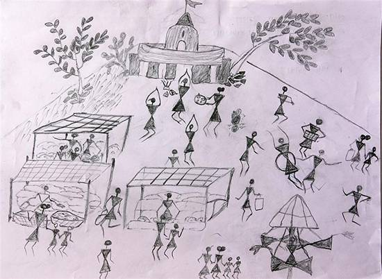 Painting  by Shailesh Ganpat Dumada - Warli Art