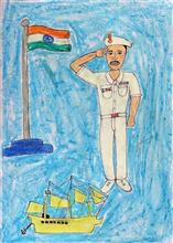 Painting  by Vinod Ramaji Tumbada - Salute to Nation