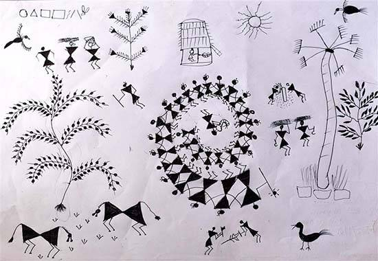 Warli Art, painting by Chandu Raman Rinjad
