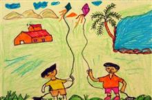 Painting  by Chandu Raman Rinjad - Kids playing kite