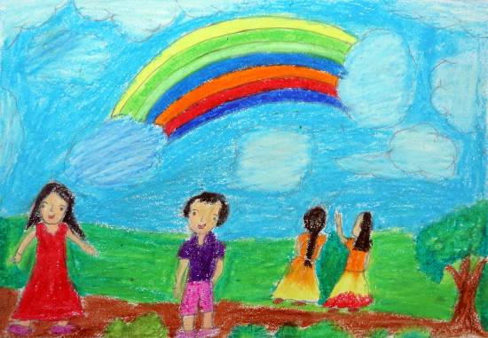 Painting  by Anjana Janu Bhavar - rainbow in the sky