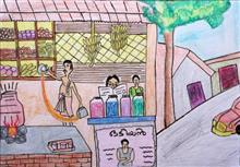 Painting  by Ved Amrut - Tea Stall