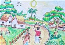 Painting  by Ved Amrut - Village Life