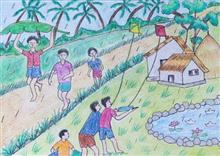 Painting  by Ved Amrut - Village Children