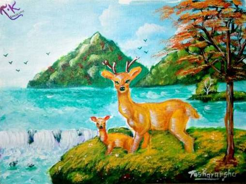 Painting  by Tusharanshu Kanik - Deer in forest