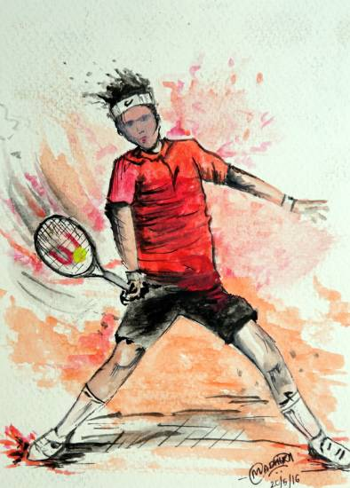 Painting  by Madhura Uday Tembe - Boy Playing tennis