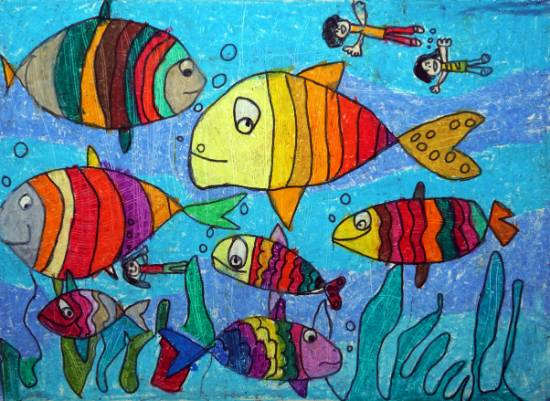 Painting  by Kavya Dharmin Shah - Fishes in a river