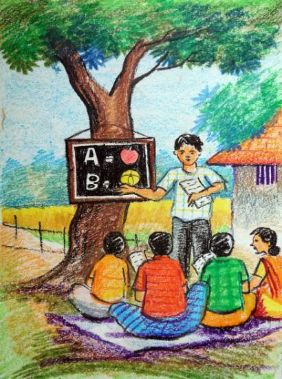 Painting  by Ahana Das - School On Ground Tree