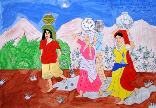 Painting  by Vinayak Somnath Mahale - Woman Bring Drinking Water Pot On Head