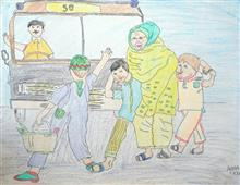 Painting  by Ayaan Khan - Helping Mother