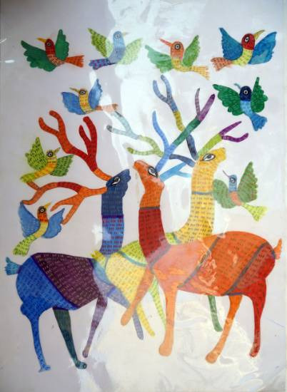 Painting  by Suraj Ashokkumar Mundada - colorful Blackbuck with Birds