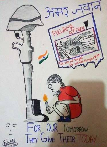 Painting  by Harsh Mahesh Machhi - Tribute to the Indian Army