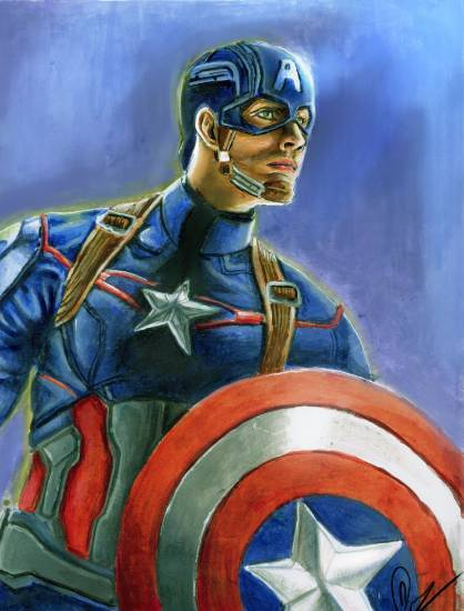 Painting  by Deepak Kumar EP - Captain America