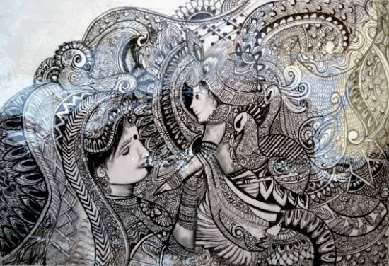Painting  by Kajal Mittal - Krishna With Mother