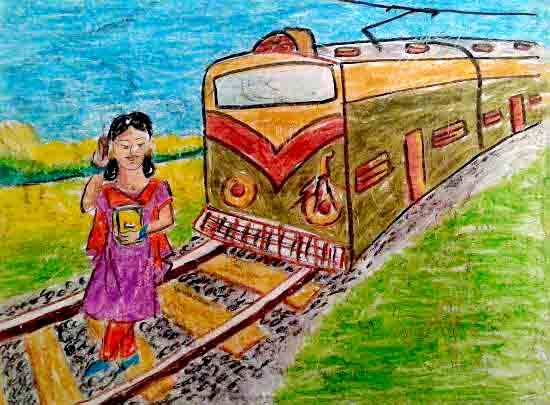 Painting  by Adrija Chattopadhyay - Crossing railway track with mobile is dangerous