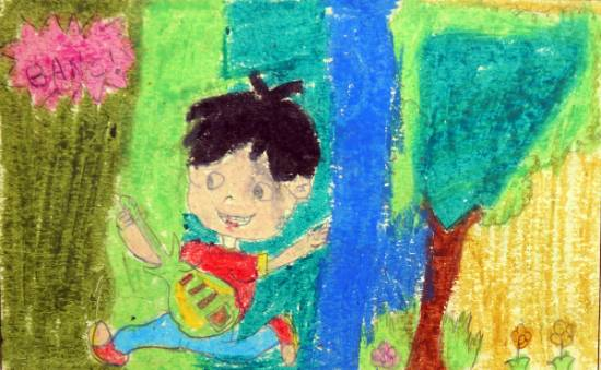 Painting  by Amisha Sandip Lahage - Kid Singing With Guitar