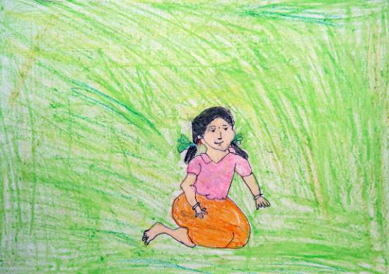 painting by Asha Raghu Gungune - Seating Girl