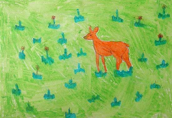 Painting  by Asha Raghu Gungune - Deer
