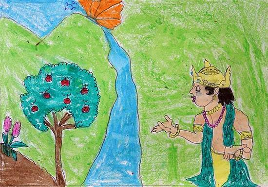 painting by Asha Raghu Gungune - God