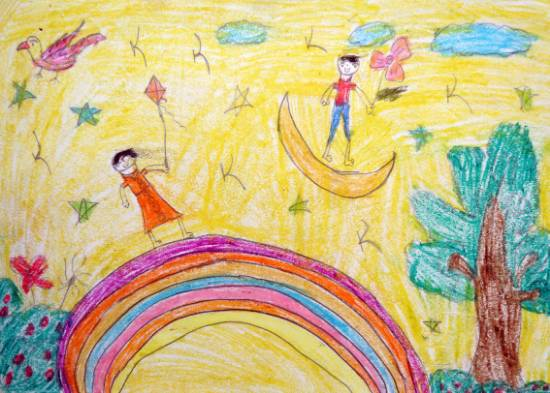 Painting  by Damini Sanjay Patara - Boy and Girl Playing on sky