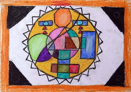painting by Dharmraj Jayram Raut - Geometric design