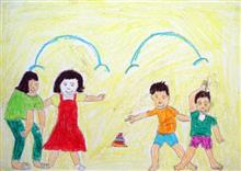 Painting  by Gaytri Dattu Choudhary - Two Boys and Two Girls are Playing Game