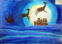 Painting  by Harsh Sachin Jadhav - Deer Driving On Sky