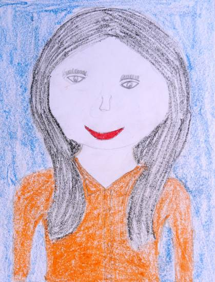 painting by Hasina Ganesh Vaghat - Beautiful Girl On Orange Dress