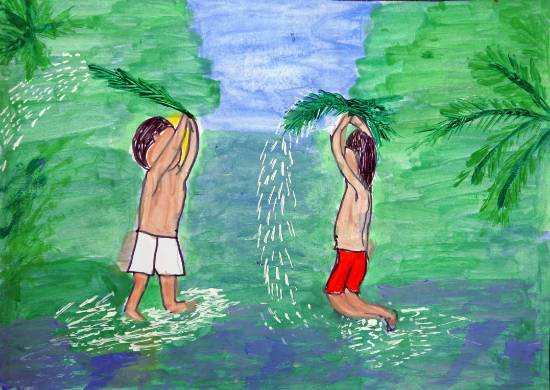 Painting  by J Akshay - Small Kids Playing in Water