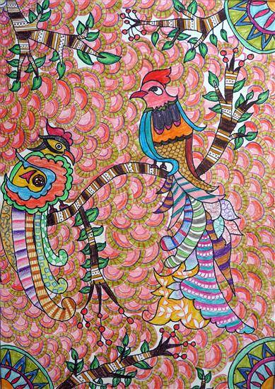 painting by Krisha Mogal - Madhubani Art