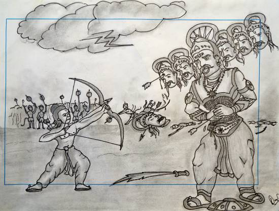 Rama killing Ravana, painting by Lokesh Verma