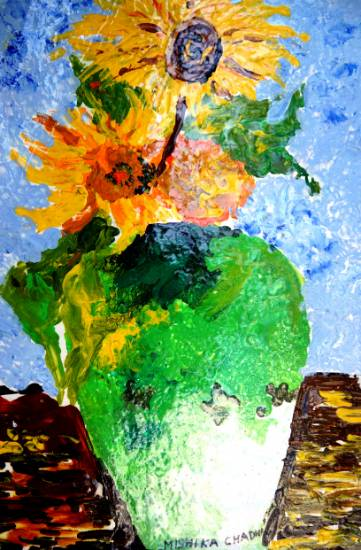 painting by Mishika Chadha - Flower in the vase