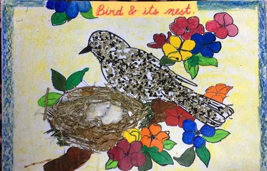 painting by Mishika Chadha - Bird and its nest