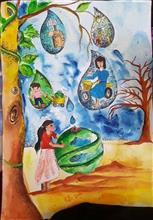 Painting  by Mishika Chadha - Save water