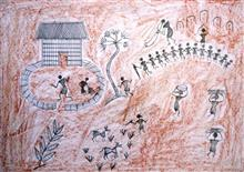 Painting  by Nikhil Subhash Gavit - Warli Dancing