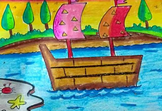 Boating, painting by Prabhleen Kaur Mahajan