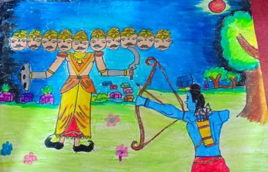 Dussehra wishes, painting by Prabhleen Kaur Mahajan