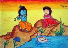 Painting  by Prabhleen Kaur Mahajan - Krishna And Radha