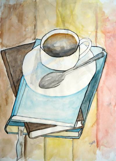 Painting  by Pushpendra Harshwal - Cup Of Tea With Books
