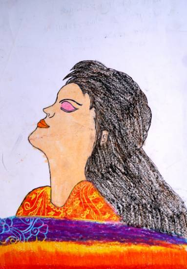 Painting  by Radhika Mukesh Shirgade - Woman Close Her Eyes