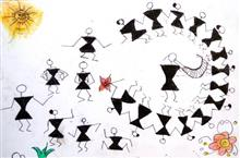 Painting  by Raj Subhash Wangad - Dancing Warli
