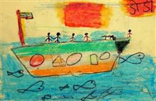 Painting  by Rutik Madhu Khevara - Peoples On Boat