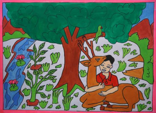 Small Kid With Deer, painting by Seema Singh