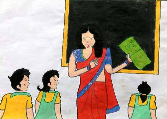 painting by Seema Singh - My Favourite Teacher