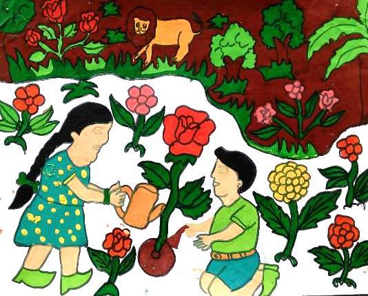 painting by Seema Singh - Save Environment