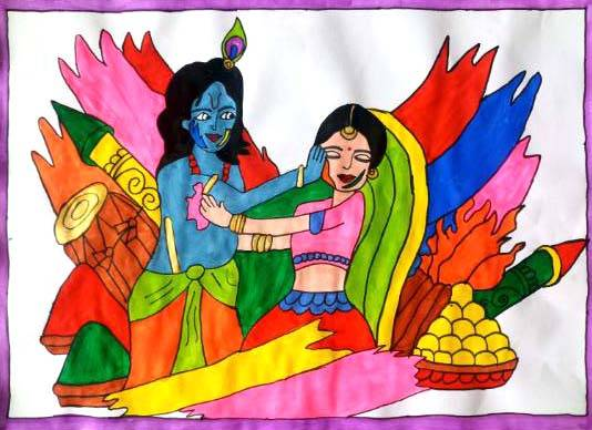 Holi with Radha Krishna, painting by Seema Singh