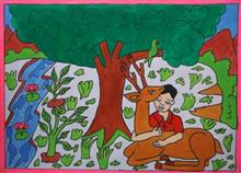 Painting  by Seema Singh - Small Kid With Deer