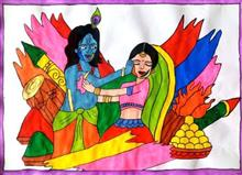 Painting  by Seema Singh - Holi with Radha Krishna