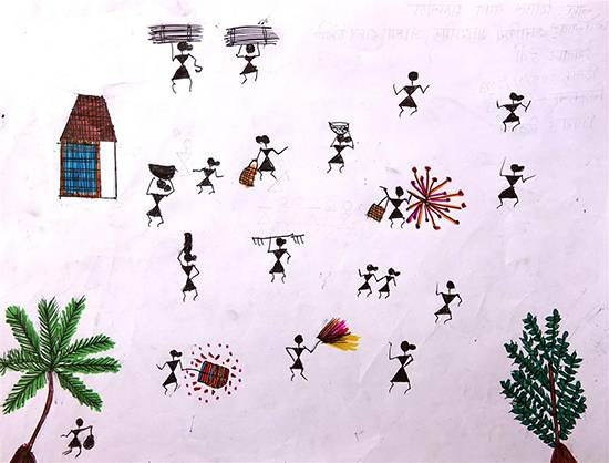 Painting  by Sheetal Vasant Maloda - Warli Art