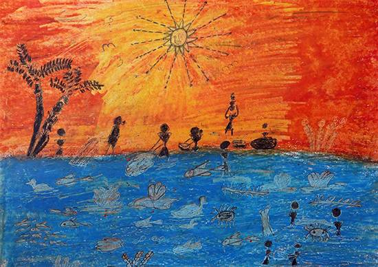 Painting  by Shilpa Sitaram Dombare - Warli Art - Fishing